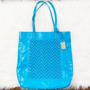 Badgley Mischka leather woven detail tote purse